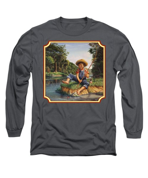 Americana - Country Boy Fishing In River Landscape - Square Format Image Long Sleeve T-Shirt