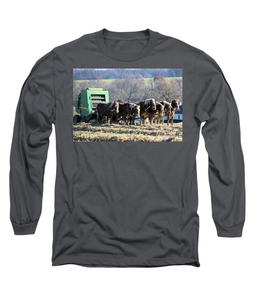 Amish Haymaker In Lancaster County, Pennsylvania Long Sleeve T-Shirt