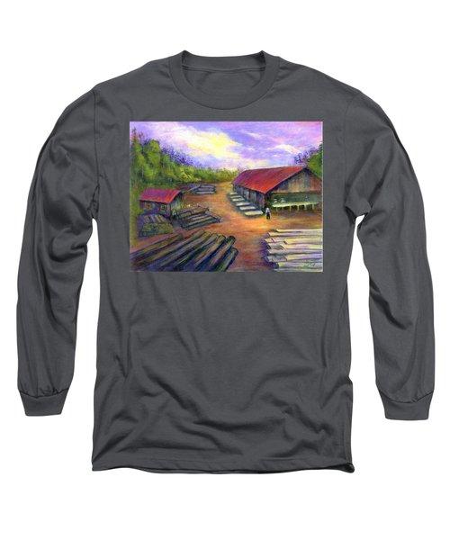 Amish Lumbermill Long Sleeve T-Shirt by Gail Kirtz