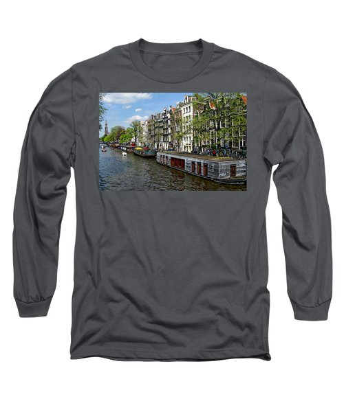 Amsterdam Canal Long Sleeve T-Shirt by Anthony Dezenzio