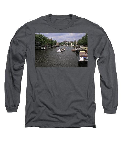 Amsterdam Water Scene Long Sleeve T-Shirt by Sally Weigand