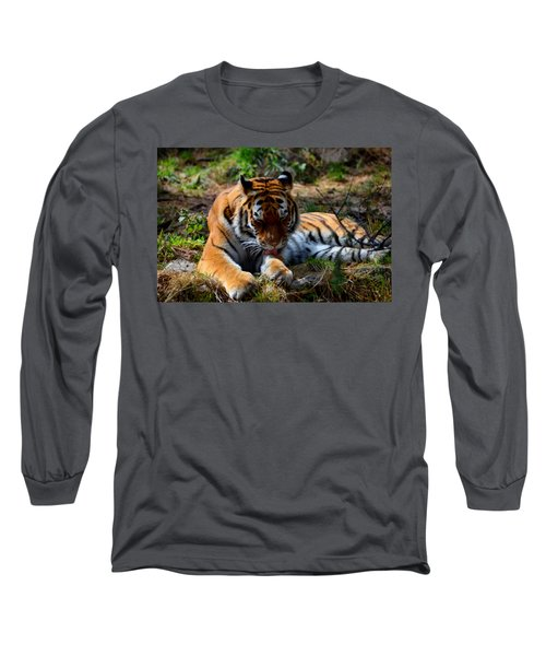 Long Sleeve T-Shirt featuring the mixed media Amur Tiger 2 by Angelina Vick