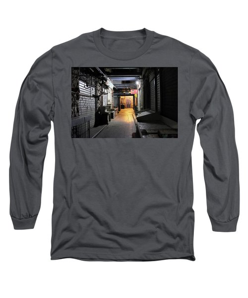 Long Sleeve T-Shirt featuring the photograph An Alley In Mahane Yehuda Market by Dubi Roman