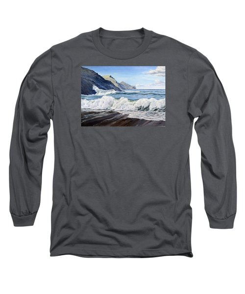Long Sleeve T-Shirt featuring the painting An April Morning At Crackington Haven by Lawrence Dyer