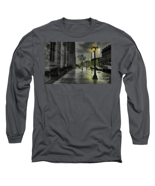 Long Sleeve T-Shirt featuring the mixed media An Evening In Paris by Jim  Hatch