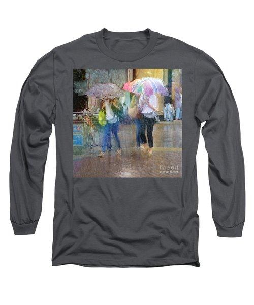 Long Sleeve T-Shirt featuring the photograph An Odd Sharp Shower by LemonArt Photography