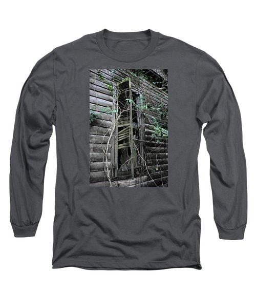 An Old Shuttered Window Long Sleeve T-Shirt by Lynn Jordan