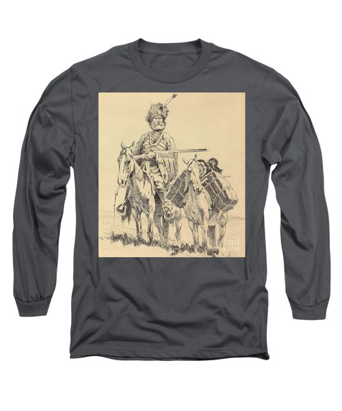 An Old Time Mountain Man With His Ponies Long Sleeve T-Shirt