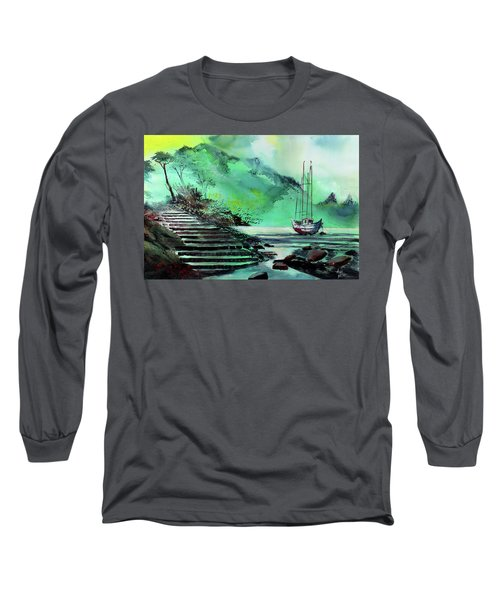 Long Sleeve T-Shirt featuring the painting Anchored by Anil Nene