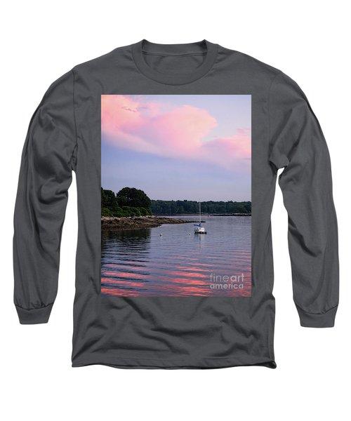 Anchored At Peaks Island, Maine  -07828 Long Sleeve T-Shirt by John Bald