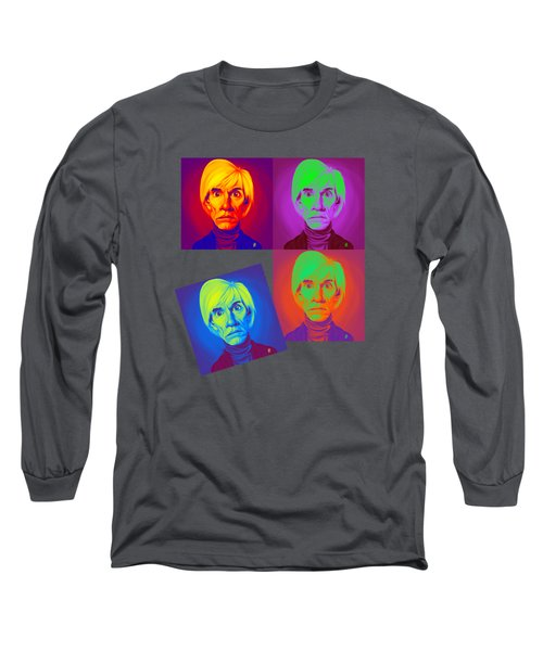 Andy Warhol On Andy Warhol Long Sleeve T-Shirt by Rob Snow