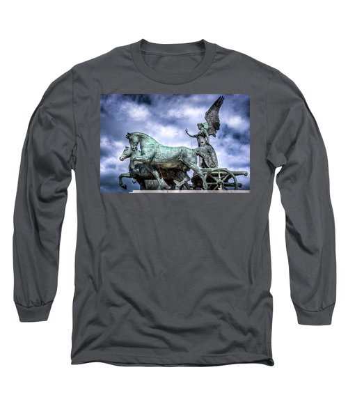 Angel And Chariot With Horses Long Sleeve T-Shirt by Sonny Marcyan