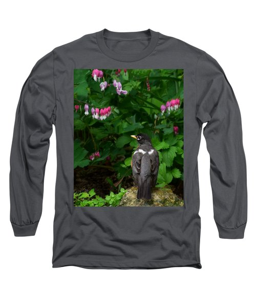 Angel In The Garden Long Sleeve T-Shirt by Kathy M Krause