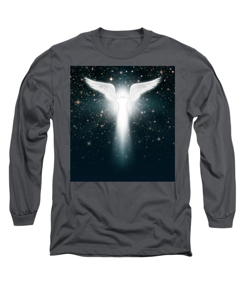 Angel In The Night Sky Long Sleeve T-Shirt by James Larkin