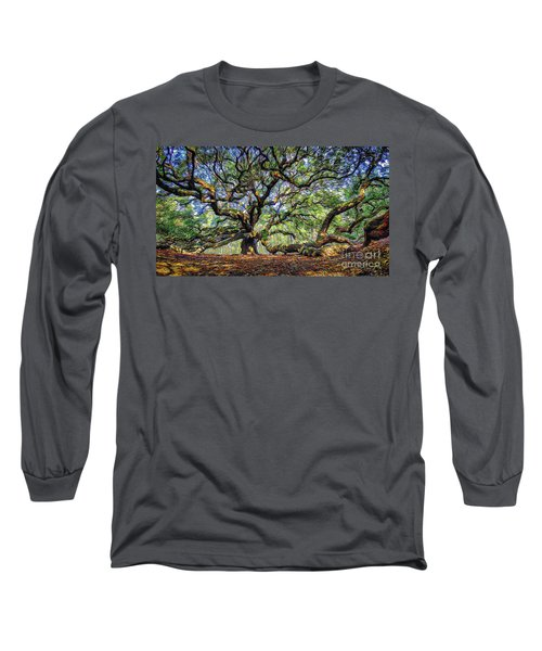 Angel Oak In Digital Oils Long Sleeve T-Shirt
