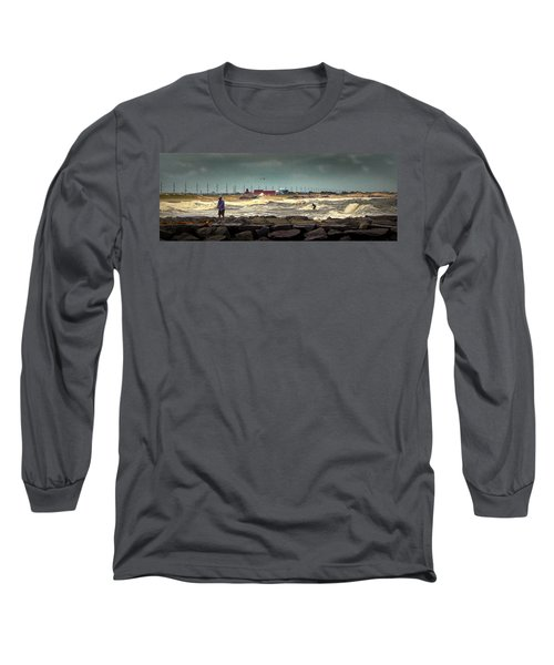 Angry Surf At Indian River Inlet Long Sleeve T-Shirt