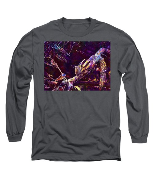 Long Sleeve T-Shirt featuring the digital art Animal Branches Leaves Mammal  by PixBreak Art