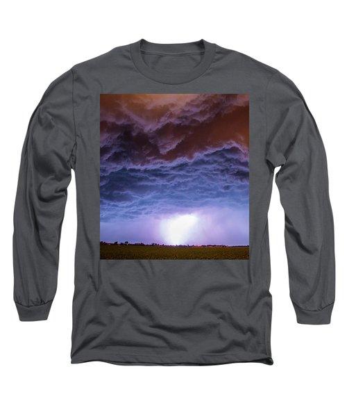 Another Impressive Nebraska Night Thunderstorm 007 Long Sleeve T-Shirt
