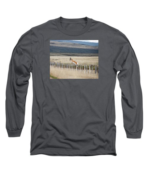 Long Sleeve T-Shirt featuring the photograph Antelope Jumping Fence 1 by Rebecca Margraf
