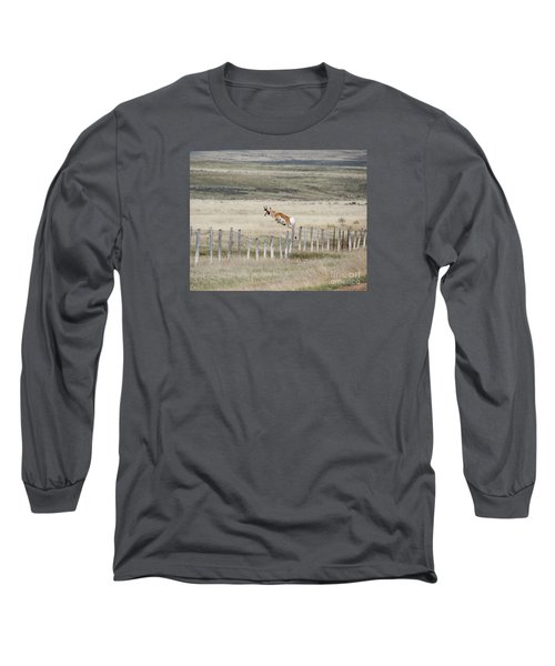 Long Sleeve T-Shirt featuring the photograph Antelope Jumping Fence 2 by Rebecca Margraf