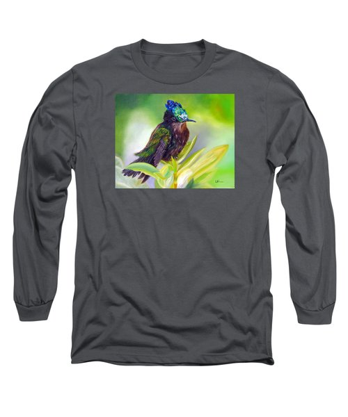 Antillean Crested Hummingbird Long Sleeve T-Shirt by LaVonne Hand