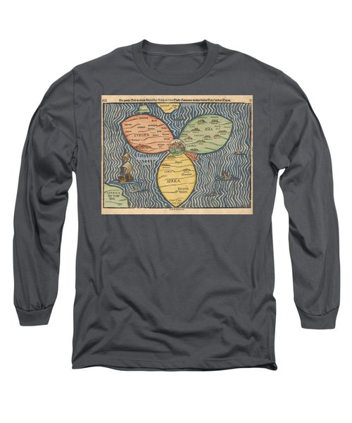 Antique Maps - Old Cartographic Maps - Antique Clover Leaf Map Of Europe, Asia And Africa Long Sleeve T-Shirt