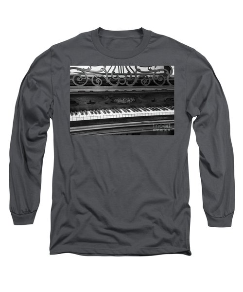Antique Piano Black And White Long Sleeve T-Shirt