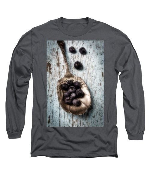 Antique Spoon And Buleberries Long Sleeve T-Shirt by Garry Gay