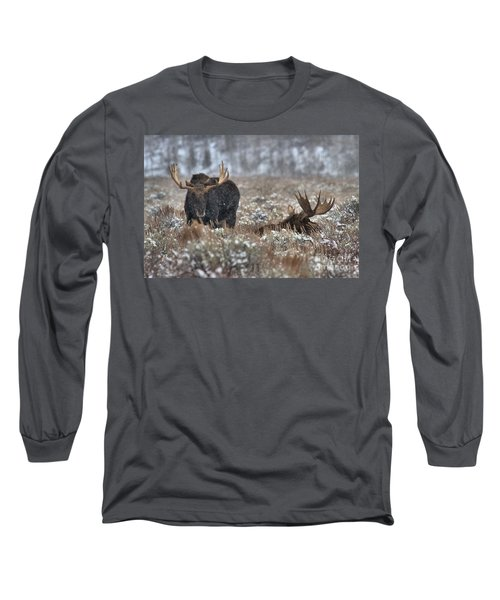 Long Sleeve T-Shirt featuring the photograph Antlers In The Brush by Adam Jewell