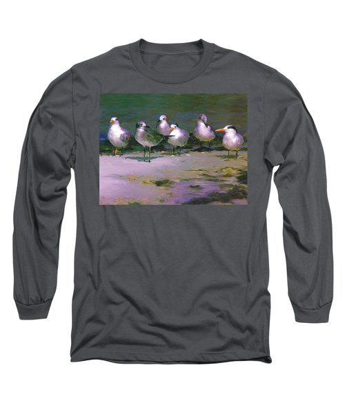 Long Sleeve T-Shirt featuring the painting Any New Gossip by David  Van Hulst