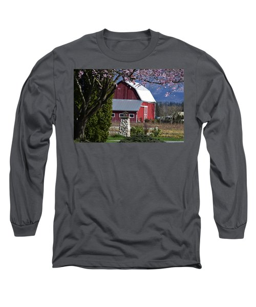 Apple Tree Pink And Barn Red Long Sleeve T-Shirt