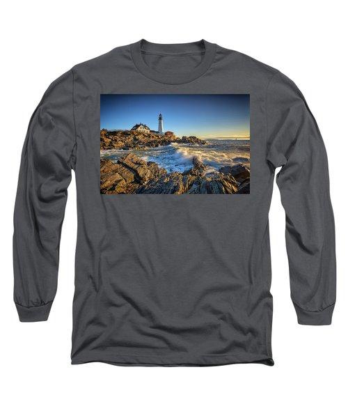 Long Sleeve T-Shirt featuring the photograph April Morning At Portland Head by Rick Berk