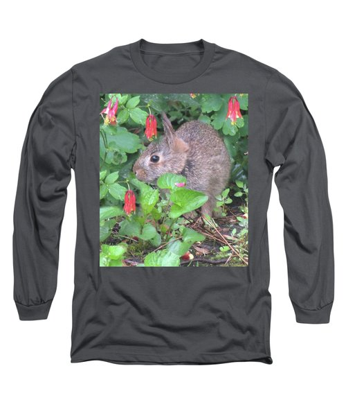 Long Sleeve T-Shirt featuring the photograph April Rabbit And Columbine by Peg Toliver