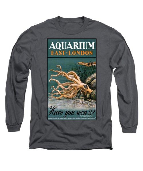 Aquarium Octopus Vintage Poster Restored Long Sleeve T-Shirt