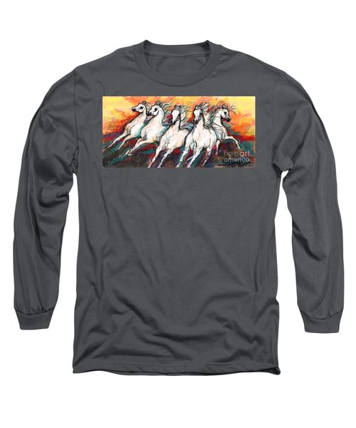 Arabian Sunset Horses Long Sleeve T-Shirt by Stacey Mayer