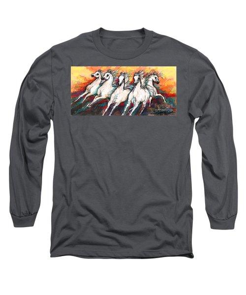 Arabian Sunset Horses Long Sleeve T-Shirt