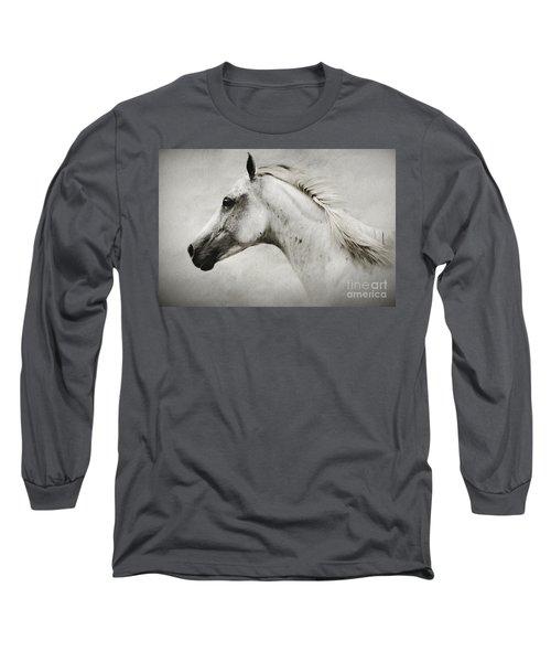 Arabian White Horse Portrait Long Sleeve T-Shirt