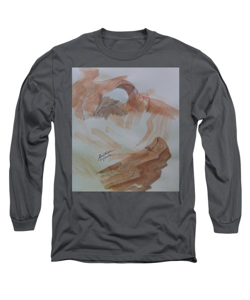 Long Sleeve T-Shirt featuring the painting Arch Rock - Sketchbook Doodle by Joel Deutsch
