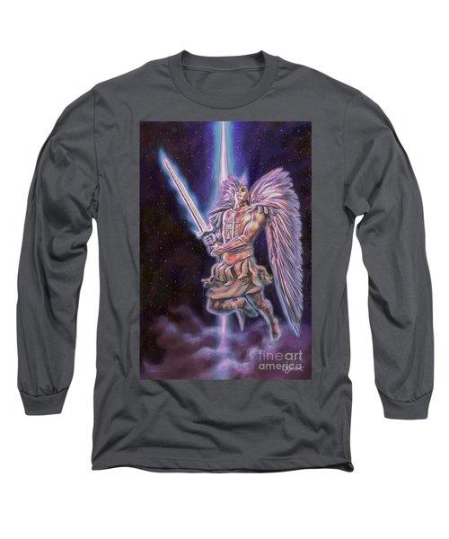 Long Sleeve T-Shirt featuring the painting Archangel Michael - Starstuff by Dave Luebbert