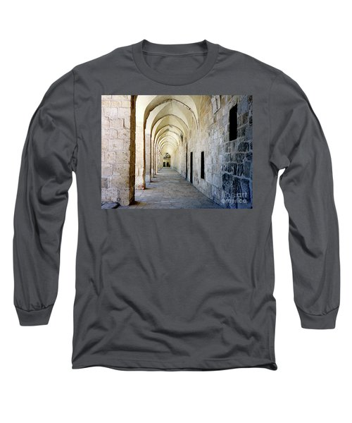 Arched Walkwayat A Church In Florence Italy Long Sleeve T-Shirt