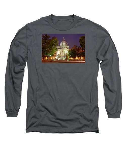 Architectural Photograph Of Mclennan County Courthouse At Dawn - Downtown Waco Central Texas Long Sleeve T-Shirt