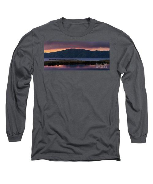 Aregunyats Range And Sevan Lake At Sunset, Armenia Long Sleeve T-Shirt by Gurgen Bakhshetsyan