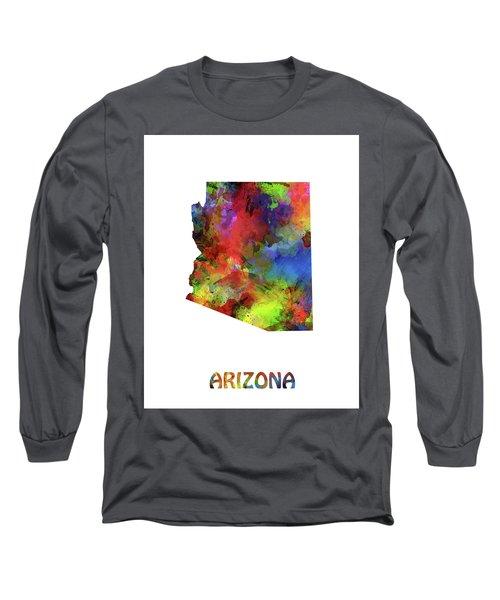 Arizona Map Watercolor Long Sleeve T-Shirt