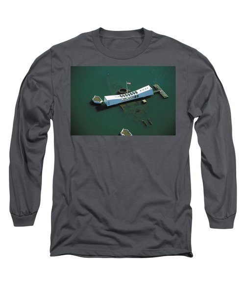 Arizona Memorial Aerial Long Sleeve T-Shirt by Dana Edmunds - Printscapes