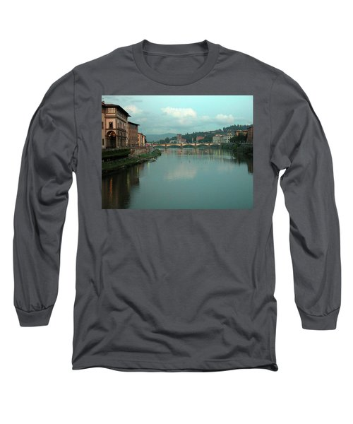 Long Sleeve T-Shirt featuring the photograph Arno River, Florence, Italy by Mark Czerniec