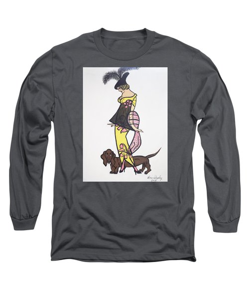Art Deco  1920's Girls And Dogs Long Sleeve T-Shirt by Nora Shepley