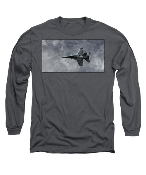 Airplane Long Sleeve T-Shirt featuring the photograph Art In Flight F-18 Fighter by Aaron Lee Berg