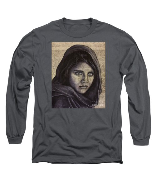 Long Sleeve T-Shirt featuring the drawing Art In The News 64-afghan Girl by Michael Cross
