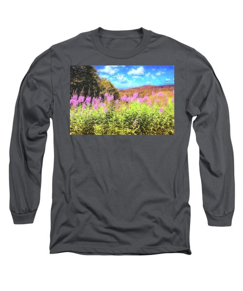 Art Photo Of Vermont Rolling Hills With Pink Flowers In The Foreground Long Sleeve T-Shirt