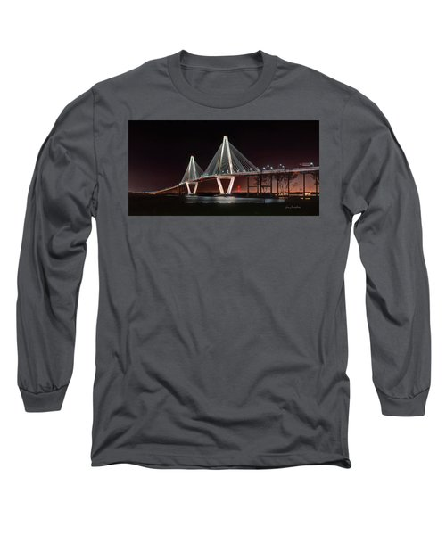 Long Sleeve T-Shirt featuring the photograph Arthur Ravenel Jr. Bridge At Midnight by George Randy Bass